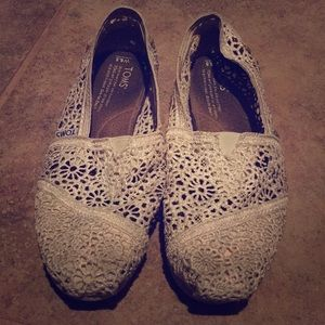 Off White Crochet Toms
